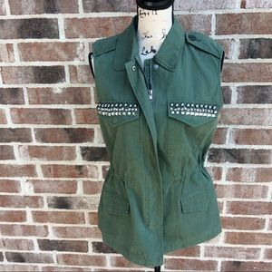 NEW BB Dakota Olive Green Studded Vest Small